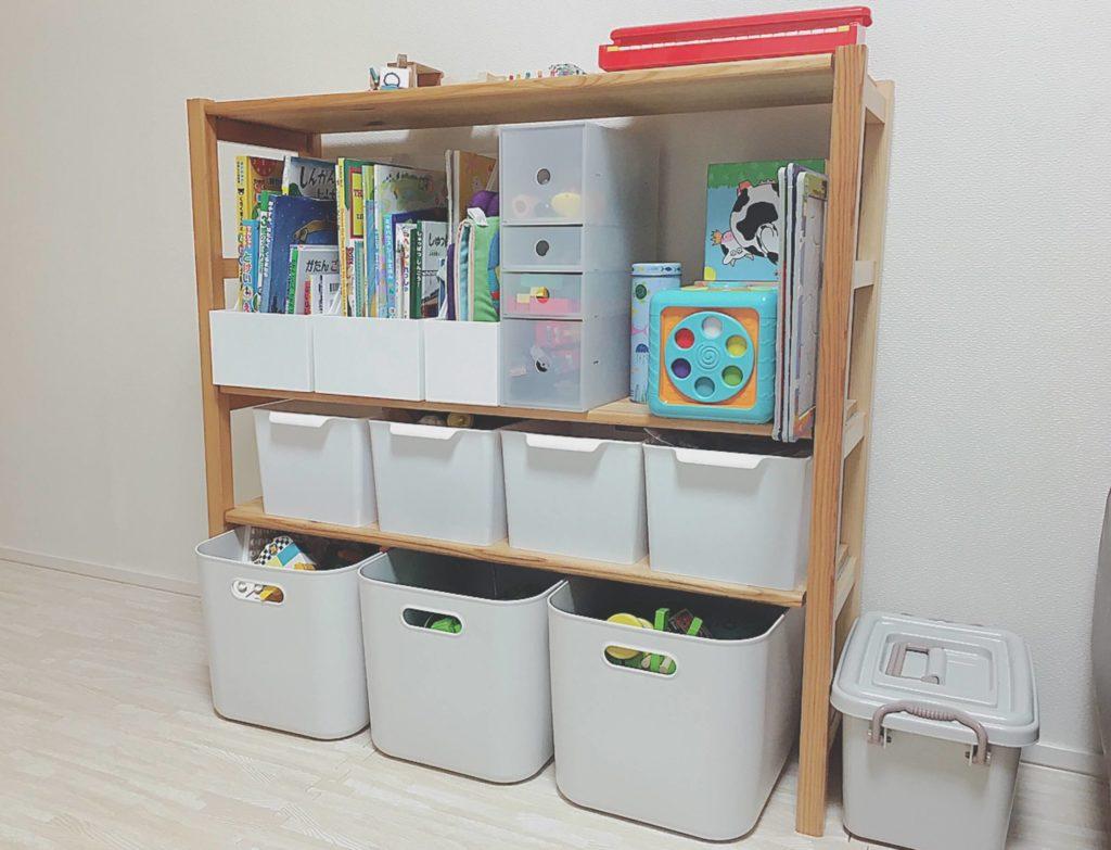 無印良品ユニットシェルフで作ったおもちゃ収納棚