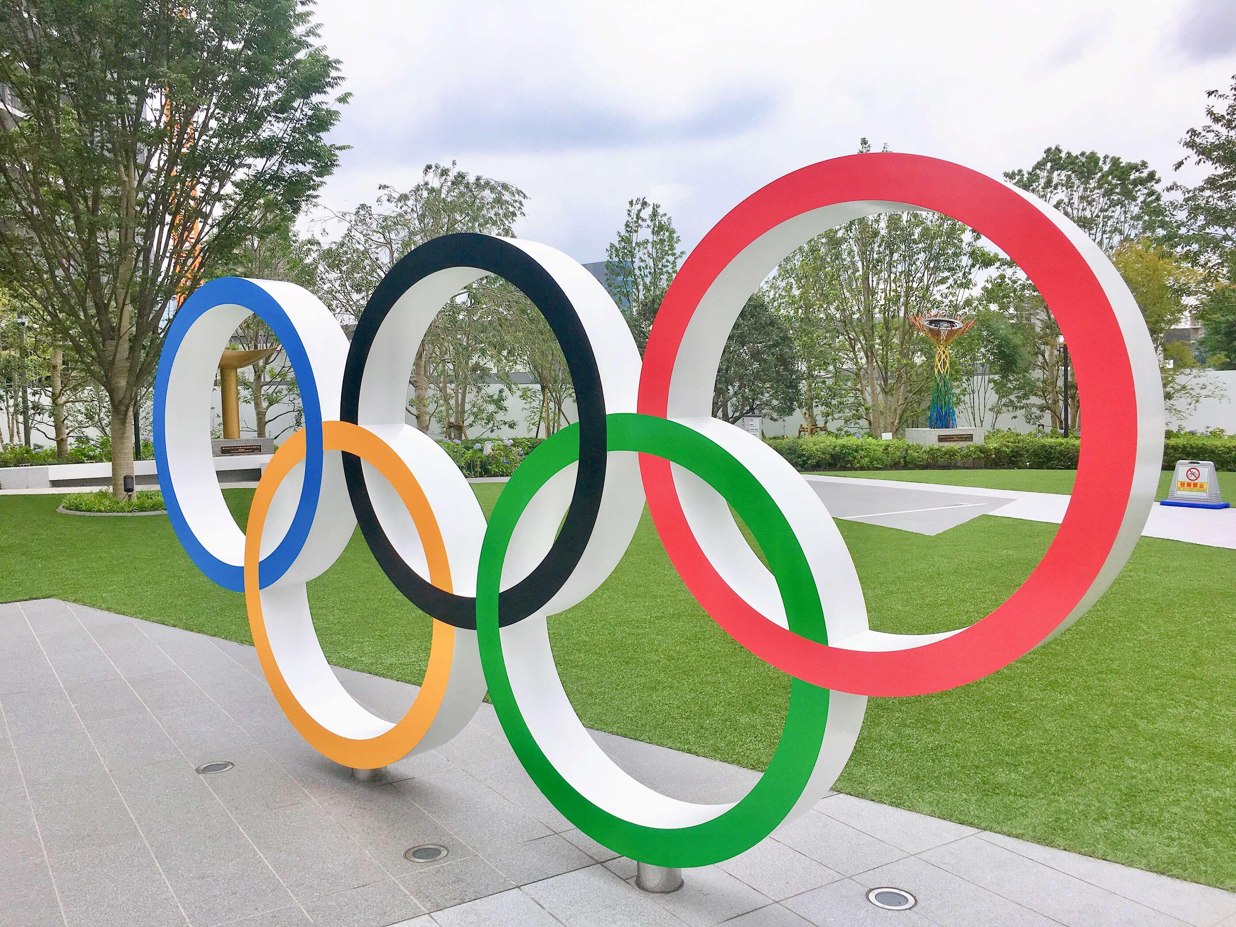 東京オリンピックパークの五輪モニュメント