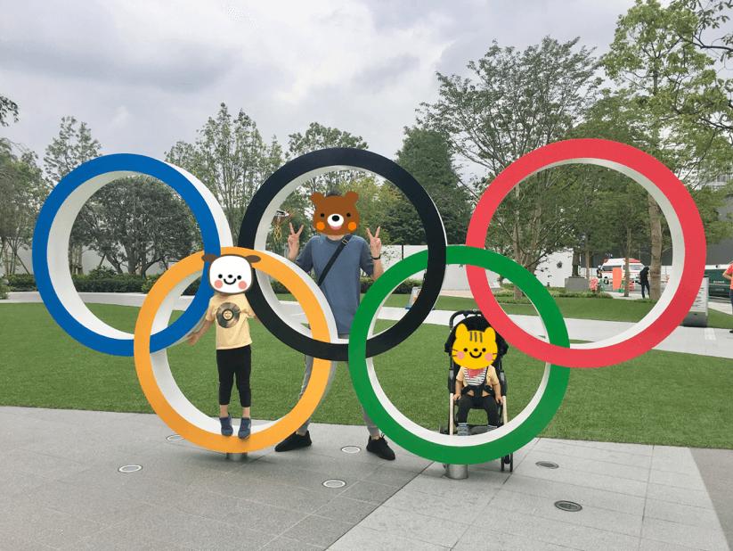 東京オリンピックパークで家族で記念撮影