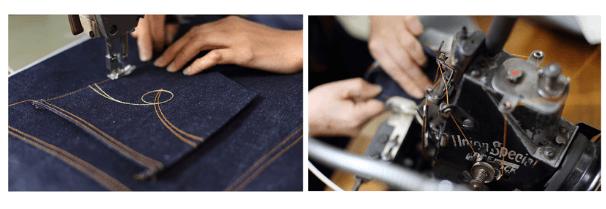 ジャパンブルージーンズの縫製作業