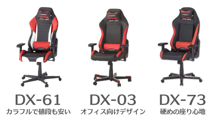 DXRACERドリフティングのDX-61、DX-03、DX-73の違いを比較