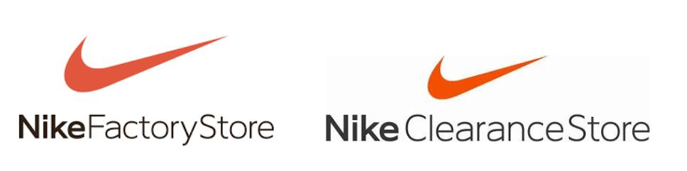 ナイキのファクトリーストアとクリアランスストアのロゴを比較