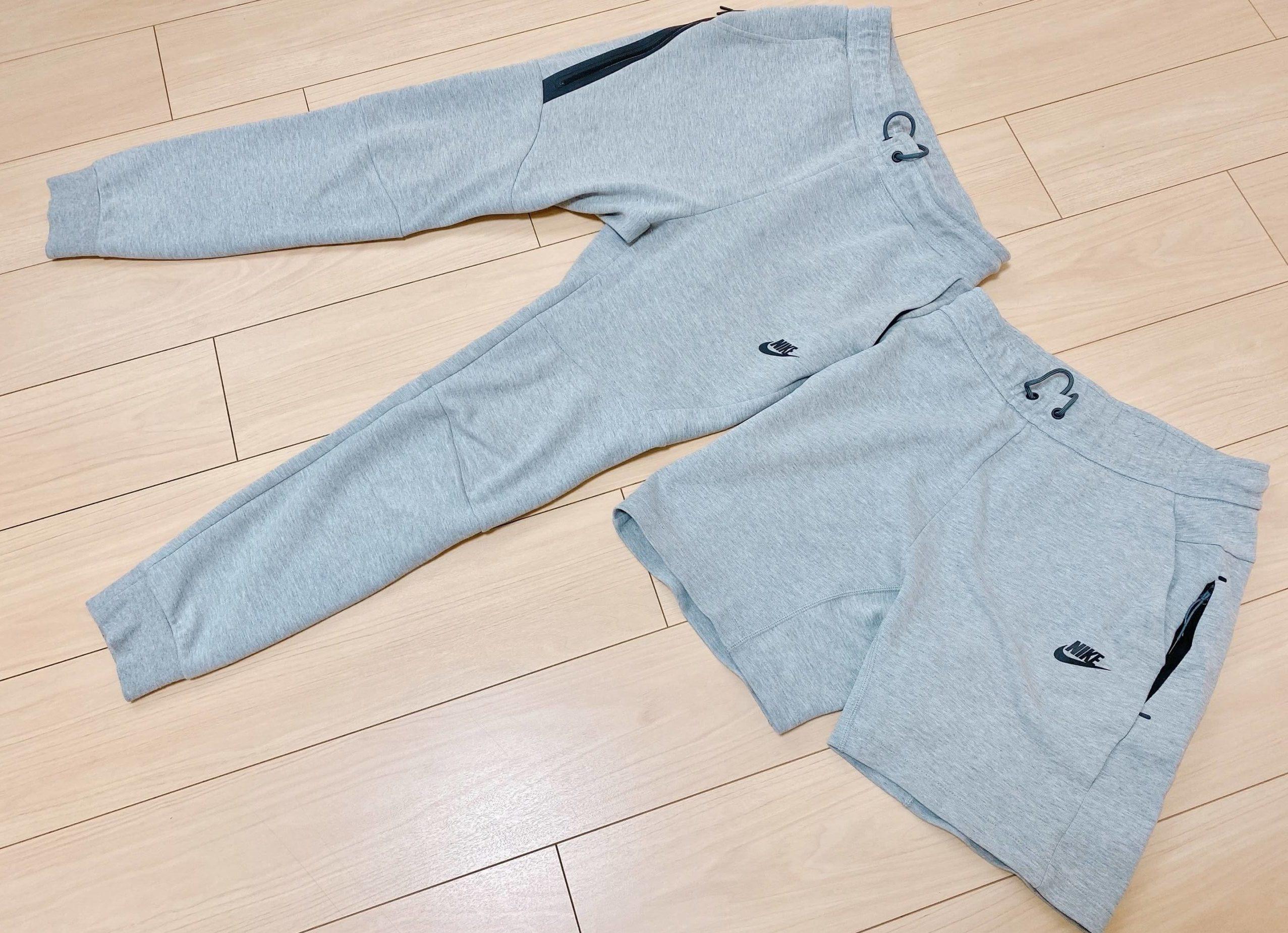 テックフリースジョガーパンツのグレーとハーフパンツのグレー