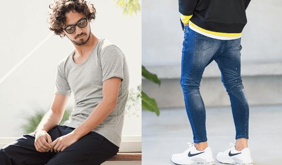 カンビオのTシャツとジーンズ