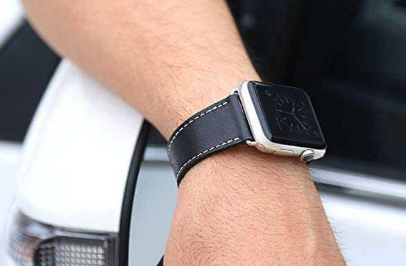 ビジネスに合うApple Watchのレザーバンドのブラック