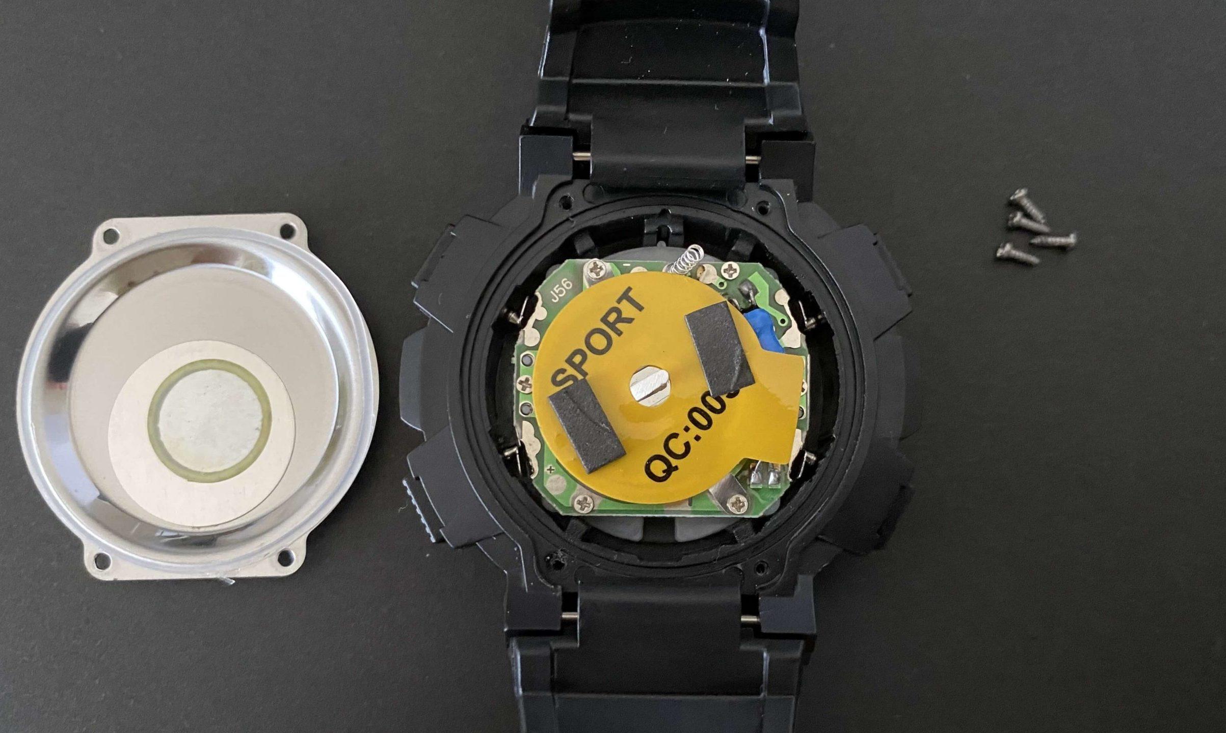 ダイソー腕時計の中を開けた状態