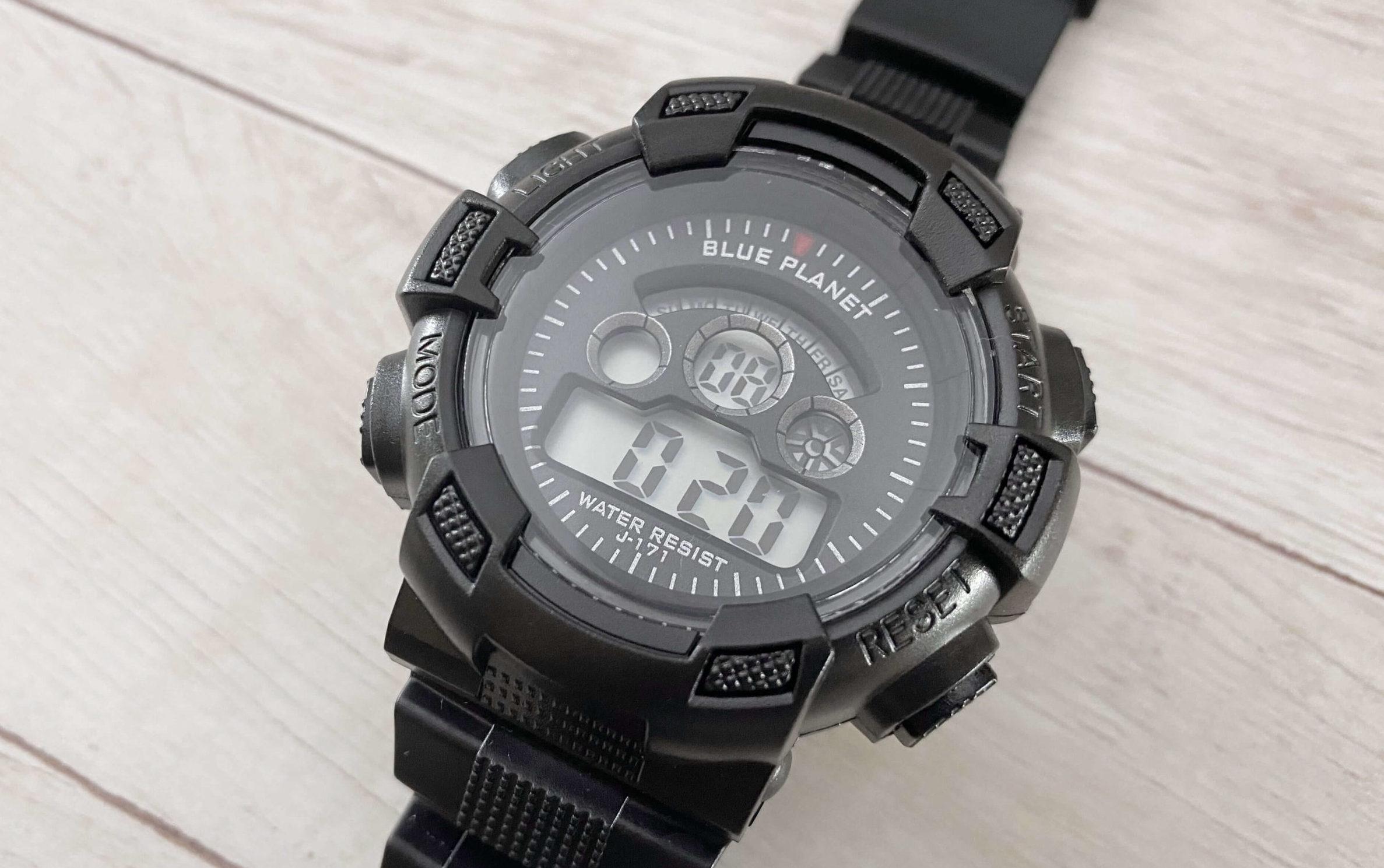 ダイソー腕時計ブループラネットGのストップウォッチ機能