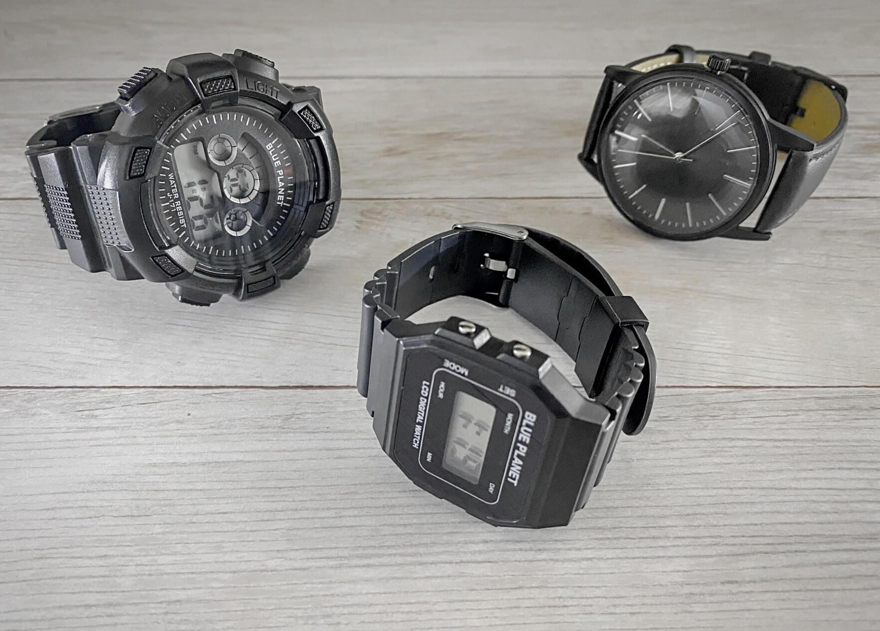 ダイソーの100円、300円、500円の腕時計の外観
