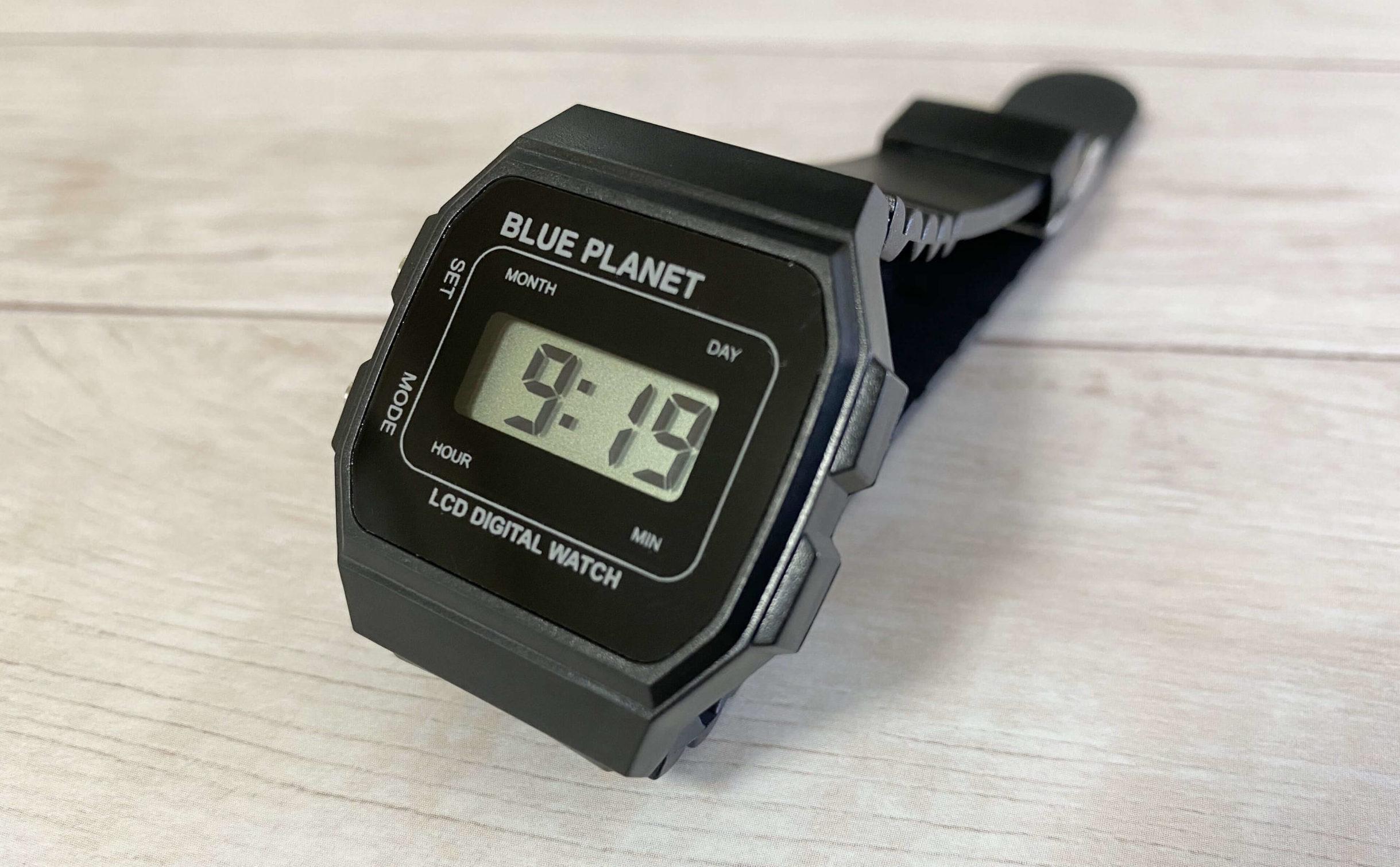 ダイソー腕時計ブループラネットAのデジタルディスプレイ
