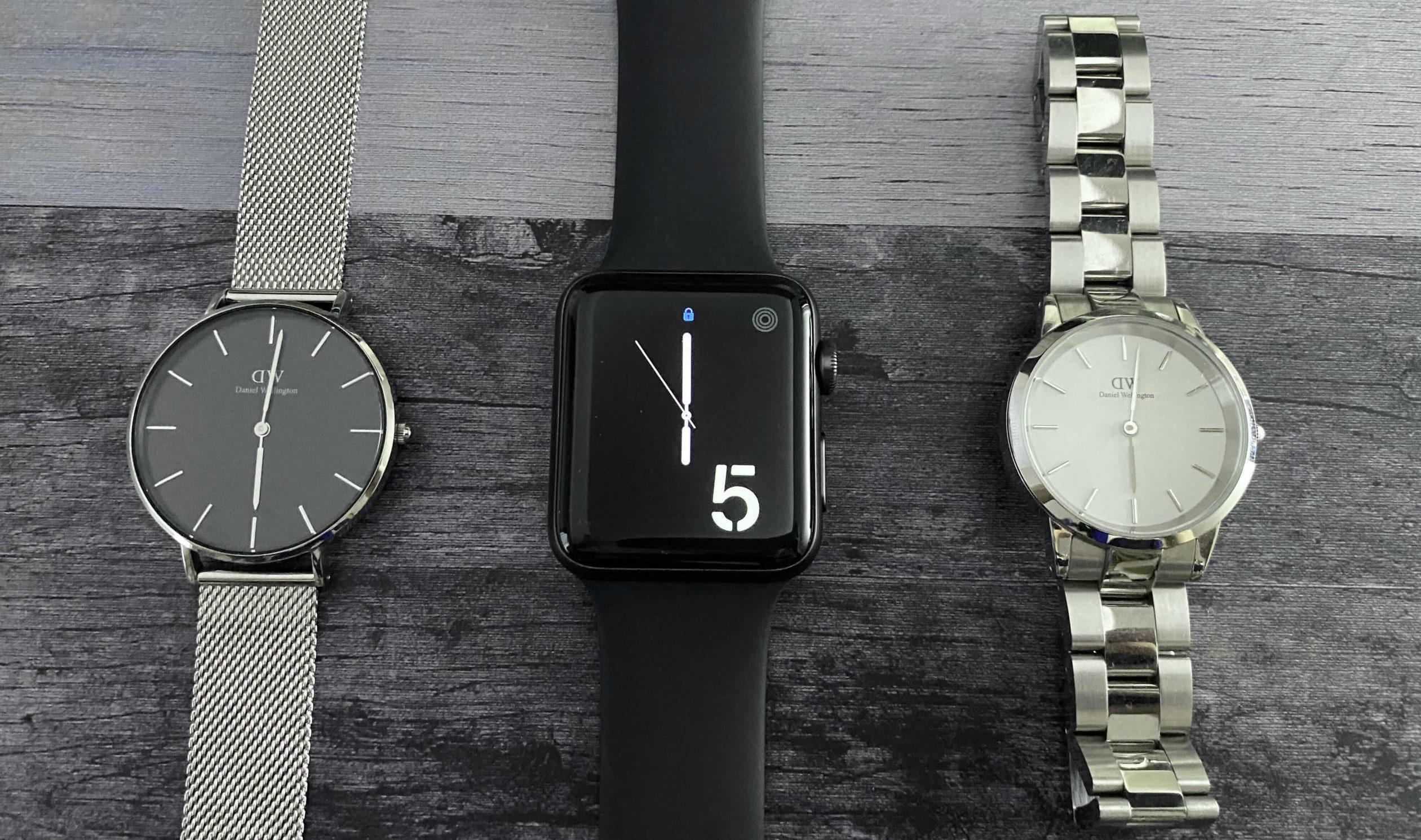 Apple Watchのディスプレイをアナログ時計と比較