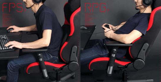 アームレストにより前傾を維持できるゲーミングチェア