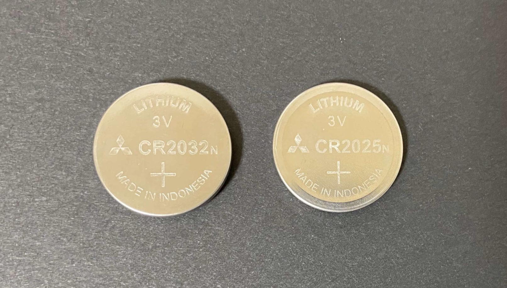 CR2032とCR2025の直径の違いを比較