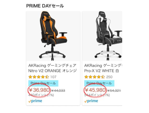 プライムデーのゲーミングチェアの価格