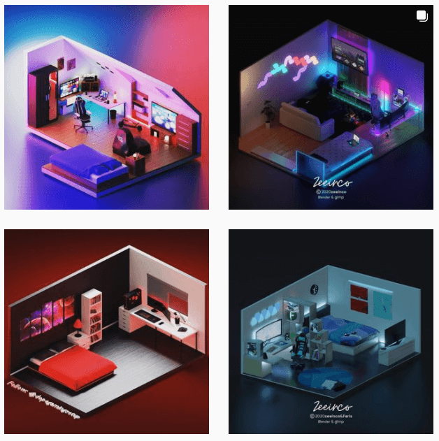 レイアウトを見れるゲーム部屋Instagramアカウント
