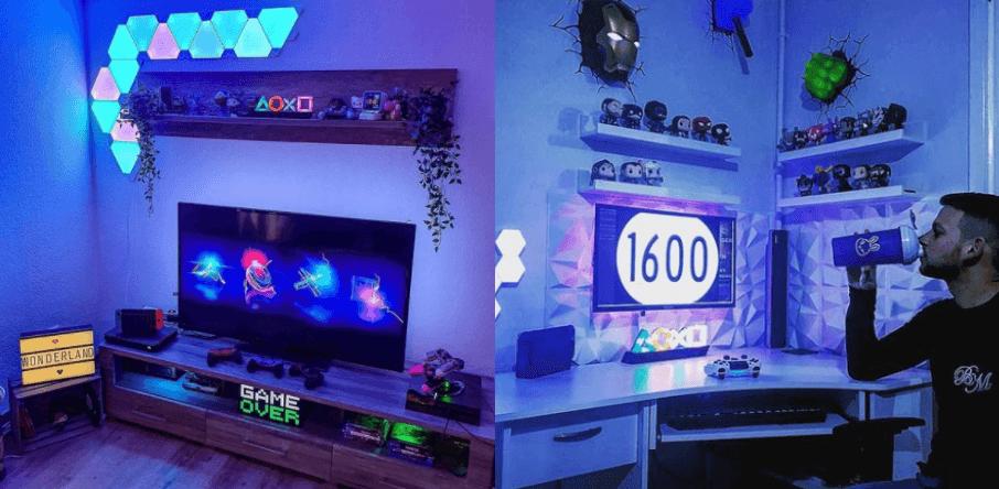 ゲーミング部屋でプレイステーションのライトを使った例
