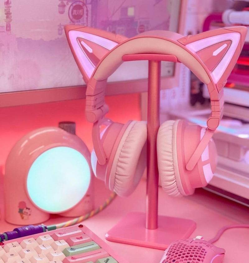 女子ゲーム部屋に必須の猫耳ヘッドセット