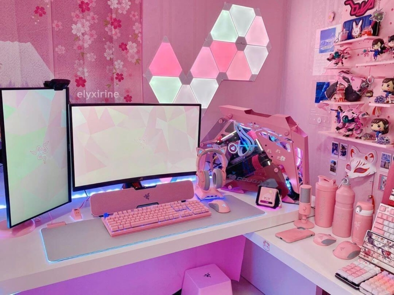 海外女子ゲーマーの可愛いゲーム部屋