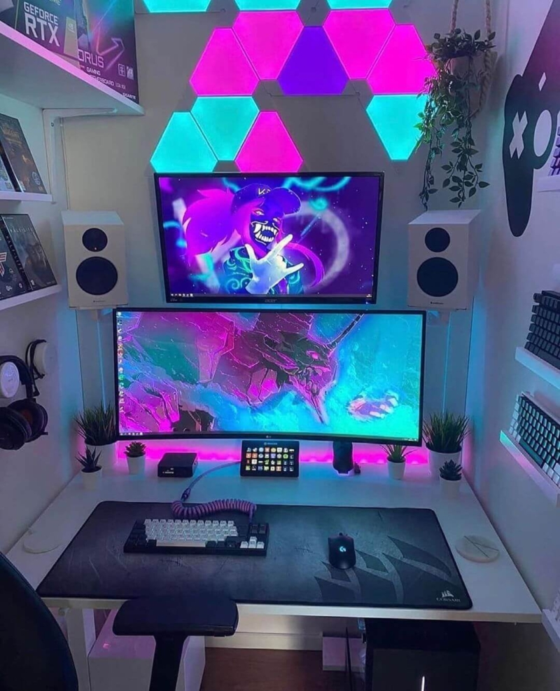 Nanoleafで雰囲気の変わったゲーム部屋