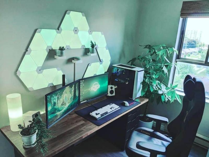 植物やナチュラルなゲーム部屋に合う照明ライト