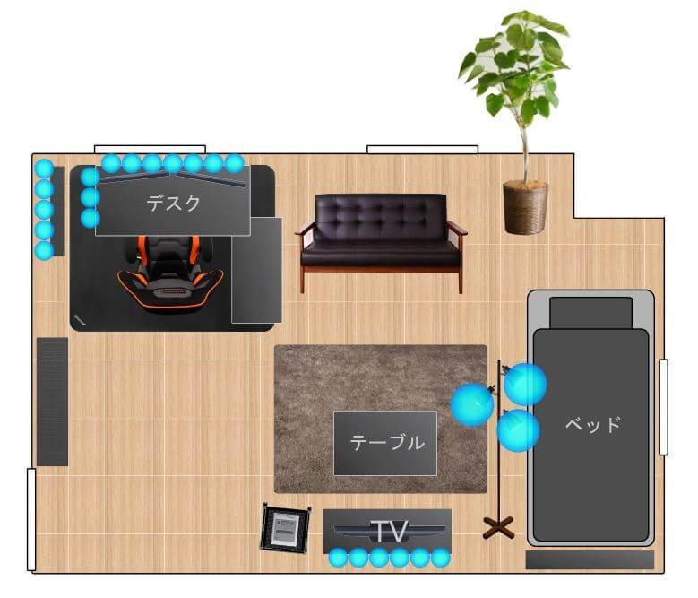 ワンルーム一人暮らしゲーム部屋の間取り10畳