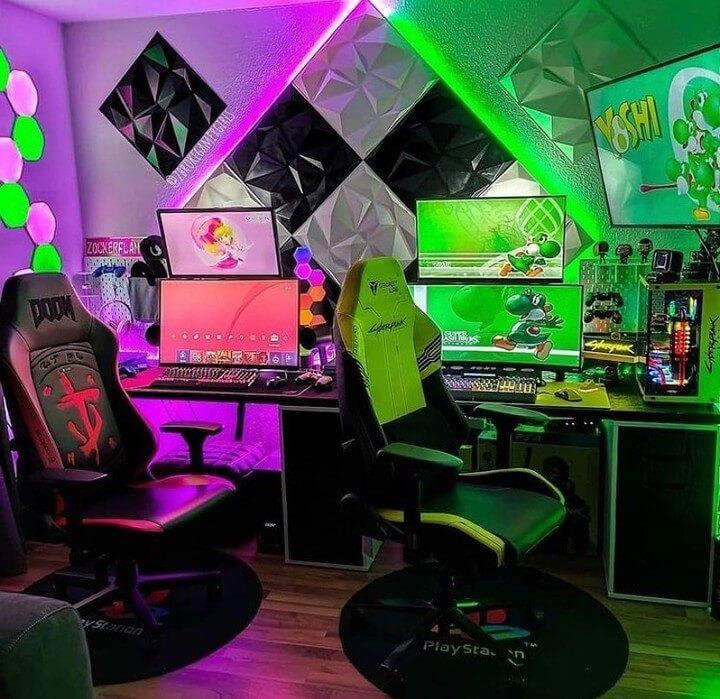 夫婦のゲーム部屋の照明