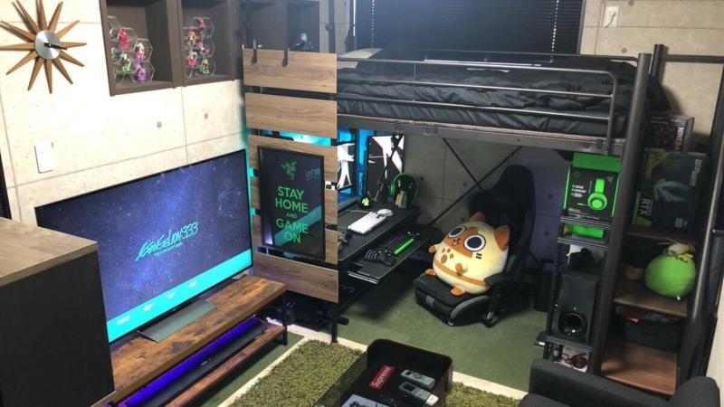 ロフト型ベッドを活用したオシャレなゲーム部屋