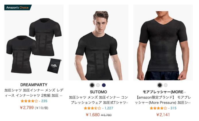 ネット通販のAmazonで買える加圧シャツ