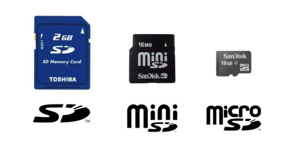 SD、ミニSD、マイクロSDの違い