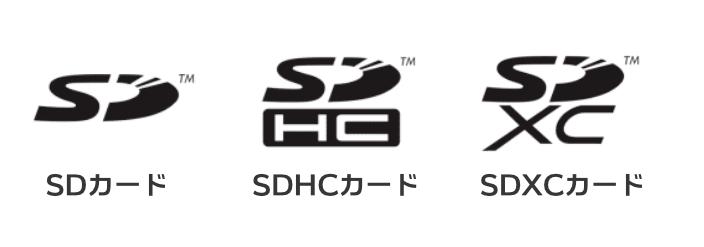 SDカード、SDHCカード、SDXCカードのロゴ