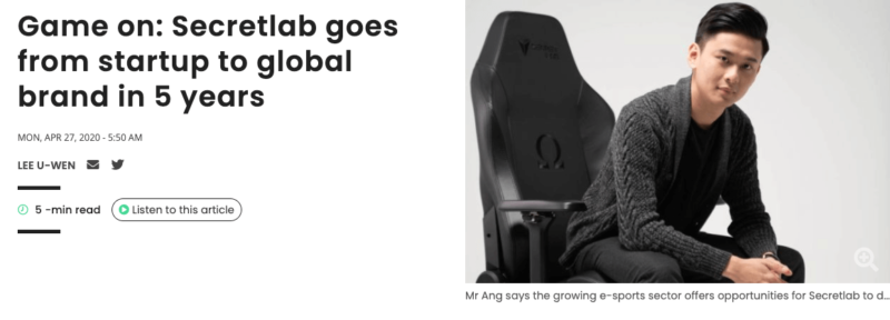 Secretlab創設者のThe business timesのインタビュー記事