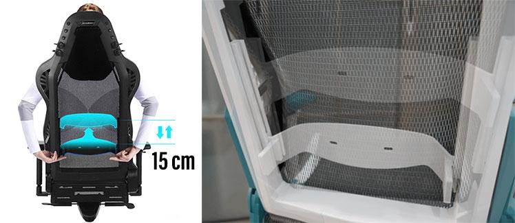 DXRACER Airのランバーサポートは上下昇降が可能