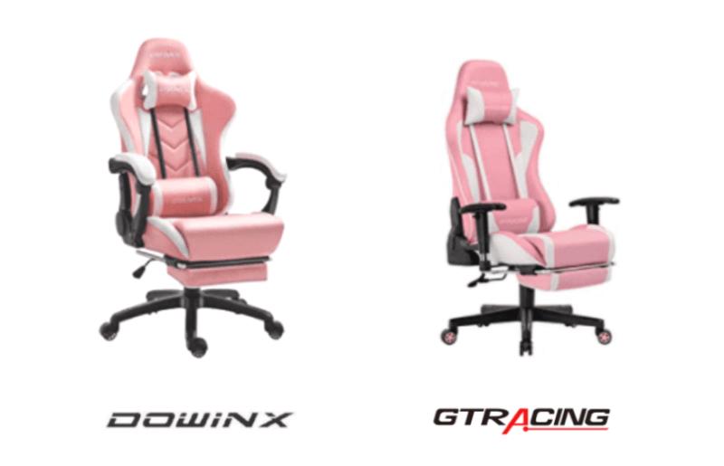 DowinxとGTRACINGのピンク色の女性向けゲーミングチェア